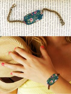 Blue Bracelet with pink flowers https://www.facebook.com/peppermint.jewels