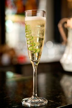 Timeless (champagne cocktail) Courtesy of The Donovon Bar on Refinery 29 Elderflower, gin, sparkling wine and cucumber