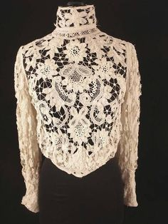 French Victorian Battenburg Lace High Neck Blouse