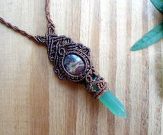 Aventurine wand macrame necklace healing jewelry by SelinofosArt
