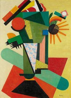 Auguste HERBIN (1882-1960) Composition, 1917 Huile sur toile, signée en bas à droite 73.5 x 54.5 cm - 29 x 211/2 in. Oil on canvas, signed lower right Cette oeuvre a fait l'objet d'un première étude au… - Aguttes - 02/12/2013