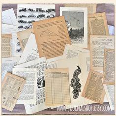 Nineteenth Century Reclaimed Ephemera Junk Journal pack Scrapbook