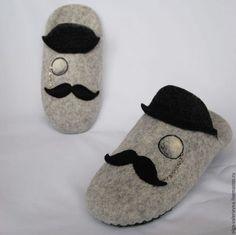 Обувь ручной работы. Месье. Тапочки-шлёпки.. Демьянова Ольга. Ярмарка Мастеров. Тапочки из шерсти, тапки из войлока