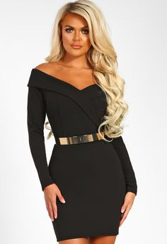 Out On The Town Black Bardot Belted Bodycon Mini Dress  f8fb2aa4c