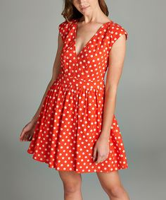 a7214c990c Take a look at this Orange Polka Dot Fit   Flare Dress - Women today!