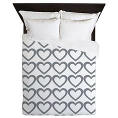 Stylish Grey Hearts Pattern Queen Duvet on CafePress.com