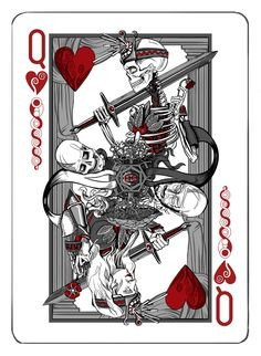 Jet City Limited is raising funds for Antithesis - A Deck of Playing Cards Printed by the USPCC on Kickstarter! A new deck of playing cards with original illustrations by Seattle artist & designer Adam Valmassoi, printed by the USPCC in the USA. Queen Of Hearts Card, Queen Of Hearts Tattoo, Cool Playing Cards, Cool Cards, Card Tattoo, Cartomancy, Joker, Heart Cards, Art Design