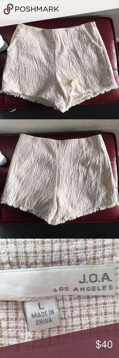 J.O.A  Creme Tweed High Waisted Shorts J.O.A  Creme Tweed High Waisted Shorts J.O.A Los Angeles Shorts