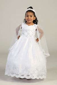 Flower Girl Dresses - Girls Dress Style 2155- WHITE Sleeveless Satin and Organza Dress with Cape