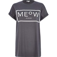 Grey meow or never print oversized t-shirt £16.00