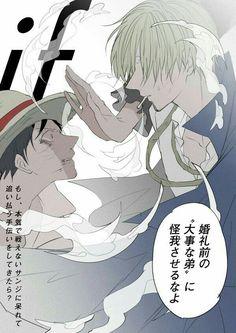 Luffy, Sanji, sad, text; One Piece