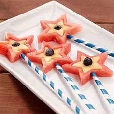 Patriotic Pops: Using cookie cutters makes it easy for kids to help prepare these star-shaped treats. For the best results, choose fruit that's firm and not too ripe.