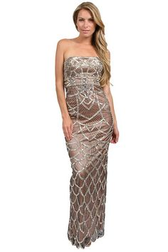 The Embellished Mesh Gown in Platinum/Rose by Sue Wong at CoutureCandy.com