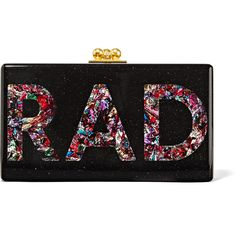 Edie Parker Jean Rad glittered acrylic box clutch ($1,315) ❤ liked on Polyvore featuring bags, handbags, clutches, edie parker, clasp purse, glitter handbag, cellphone purse, lucite box clutch and box clutch