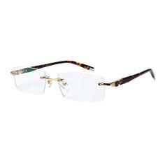 4e8afaf3f0 Maskros Rimless Mens Glasses Frame Spectacles Eyeglasses Frames for Men Prescription  Eyewear Gold Men s Grade Points