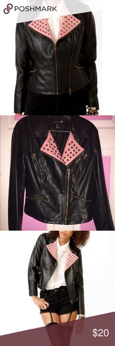 Forever 21 Studded Contrast Collar Moto Jacket All flaws shown. Minor flaw on left arm sleeve. Size medium but can fit small. Forever 21 Jackets & Coats