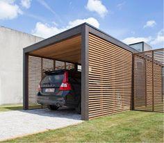 Carport with horizontal slats