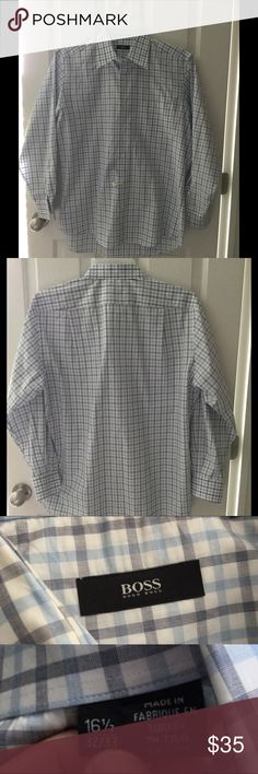 Hugo Boss Men's Shirt Worn once Hugo Boss bottom down , has been  cleaned by professional dreary cleaner. Priced low to sell fast. Like new condition . From pet / smoke free home. Hugo Boss Shirts Dress Shirts