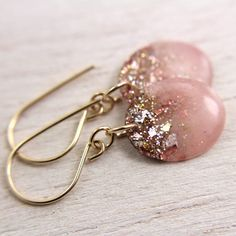 pink earrings with gold glitter and gold leaf on por tinygalaxies, $24.00
