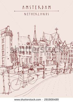 Amsterdam city architecture, bridge, bicycles. City skyline, traditional old houses. Retro style illustration. Travel touristic poster, postcards, greeting cards template. Hand drawn vintage sketch