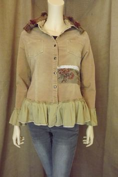 Upcycled Lagenlook Western and French Chic Inspired Buckskin Corduroy and Floral Tapestry Ruffle Jacket