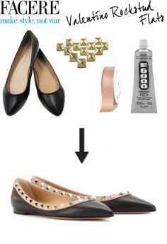 Farcere - Valentino Rockstud Flats - Hitha On The Go Valentino Rockstud Flats, Shoe Makeover, Shoe Refashion, Diy Mode, Do It Yourself Fashion, Studded Flats, Diy Clothing, Custom Shoes, Diy Fashion