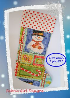 www.facebook.com/fabricgirldesigns Snowman Christmas stocking, 16 x 9 inches, 100% cotton, fully lined with hanging loop. Machine washable. Matching bunting available.