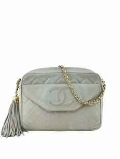 Chanel Vintage Quilted Lambskin Leather Tassel Camera Case Bag Beige
