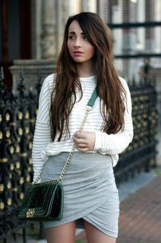 NATHALIE KEMNA    Fashion & more  Wrap skirt & green boy bag lookalike…