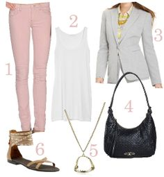 """1. MARC BY MARC JACOBS pink jeans ($185) – buy it at YOOX.     2. PHI long silk-crepe tank (on sale for $45) – buy it at The Outnet.     3. Calvin Klein One Button Blazer ($129) – buy it at MACY'S.     4.  ELLIOTT LUCCA Capella woven leather hobo bag (on sale for $103) – buy it at Lord &  Taylor. Tight budget? Try this Forever21 woven leather bag for under $30!     5. Disney Couture """"Little Mermaid"""" Gold-Plated Fish Jaw Necklace      6. Nine West Captivate sandals"""