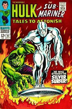 Tales to Astonish #93. The Hulk vs the Silver Surfer. Cover by Marie Severin