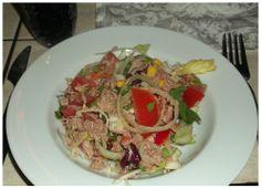 Sommersalat mit Thunfisch und Garnelen. http://apps.facebook.com/berndes-rezepte