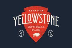 Yellowstone National Park by Nicolas Fredrickson Typography Logo, Graphic Design Typography, Lettering Design, Branding Design, Logo Design, Hipster Graphic Design, National Park Posters, National Parks, Cl Design