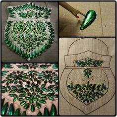 Update on the beetle wing embroidery : all wings are clipped. After this I use a seam ripper to make small holes. This needs to be done very carefully,. Bead Crafts, Arts And Crafts, Fibre And Fabric, Metallic Yarn, Wings Design, Insect Art, Ribbon Embroidery, Sewing Techniques, Vintage Sewing Patterns