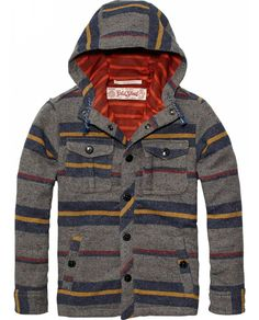 Hooded Shirt Jacket With Mesh Lining > Kids Clothing > Boys > Shirts at Scotch Shrunk - Official Scotch & Soda Online Fashion & Apparel Shops