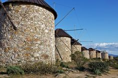 """Portuguese Windmills in a mountain called """" Atalhada"""" near Penacova a small beautiful village near to the historical city of Coimbra."""