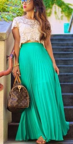 The Vogue Fashion: Maxi Skirt With Lace Crop Top