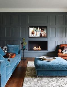 modern linear fireplace done traditional! the panelling and large . modern linear fireplace done traditional! Love this… the panelling and large base board, the rec My Living Room, Home And Living, Living Room Decor, Living Spaces, Small Living, Living Room Layout With Fireplace And Tv, Blue Living Rooms, Blue Velvet Sofa Living Room, Living Etc