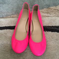 J. Crew flats Neon pink j.crew flats. (REPOSHING) Beautiful shoes just too small for me :( my loss your gain. Tiny bit of scuffs can be seen in photos. Great condition.        J. Crew. made in Italy. J. Crew Shoes Flats & Loafers