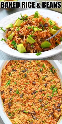 These Baked Rice and Beans are so flavorful and light. Fluffy basmati rice and black beans make this dish incredibly delicious. Vegetarian Recipes Videos, Veggie Recipes, Mexican Food Recipes, Cooking Recipes, Healthy Recipes, Veggie Food, Baked Rice, Baked Beans, Rice Recipes For Dinner