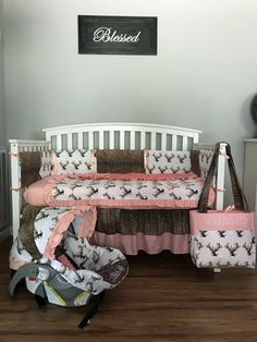 nursery set blush pink Floral deer fabric with faux deer hide cotton & coral minky dots crib set - Emery Baby Name - Ideas of Emery Baby Name - - Baby Nursery Themes, Baby Room Decor, Girl Nursery, Deer Nursery, Pink Camo Nursery, Nursery Room, Hunting Nursery, Nursery Ideas, Girl Cribs