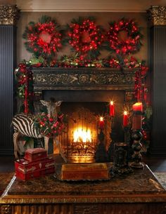 Beautiful Christmas decor and glow of warm fire create tranquil setting ...