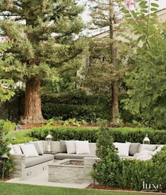 Outdoor Rooms: Beautiful outdoor living space with built-in seati...