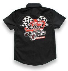 Hotrod Hellcat ~ Speed Shop Kids Rockabilly Garage Work Shirt - $49.95