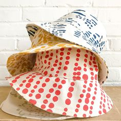 The perfect light-weight bucket hat for sunny spring and summer days! Hang to Dry* Designed, Printed, and Sewn in MAINE on USA Woven Fabric SIZING (inside diameter): Hat Display, Summer Hats, Material Girls, Woven Fabric, Caps Hats, Color Patterns, Cotton Canvas, Screen Printing, Bucket Hat