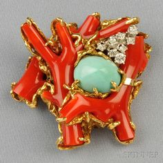 18kt Gold Gem-set Brooch, Arthur King, designed as a branch coral bird's nest set with a turquoise cabochon and full-cut diamonds, 27.1 dwt, lg. 1 7/8 in., signed. Estimate $2,000-3,000, sold for $4305 in June 2013.
