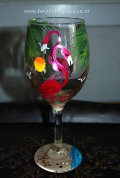 Hand Painted Flamingo Wine Glass