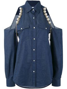 FORTE COUTURE Open Shoulder Denim Shirt. #fortecouture #cloth #shirt