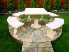 outdoor concrete furniture - great for a corner of our land, near a fence.