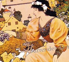 Scribner's cover art 'Grape Harvest' (detail) by Maxfield Parrish, October 1899